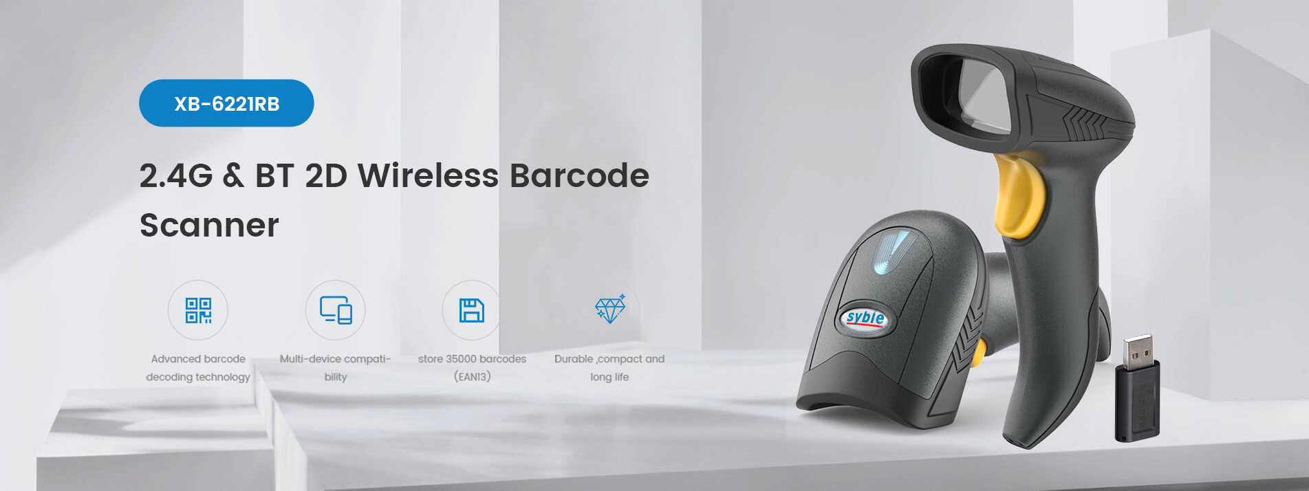 2.4G and BT 2D Wireless Barcode Scanner